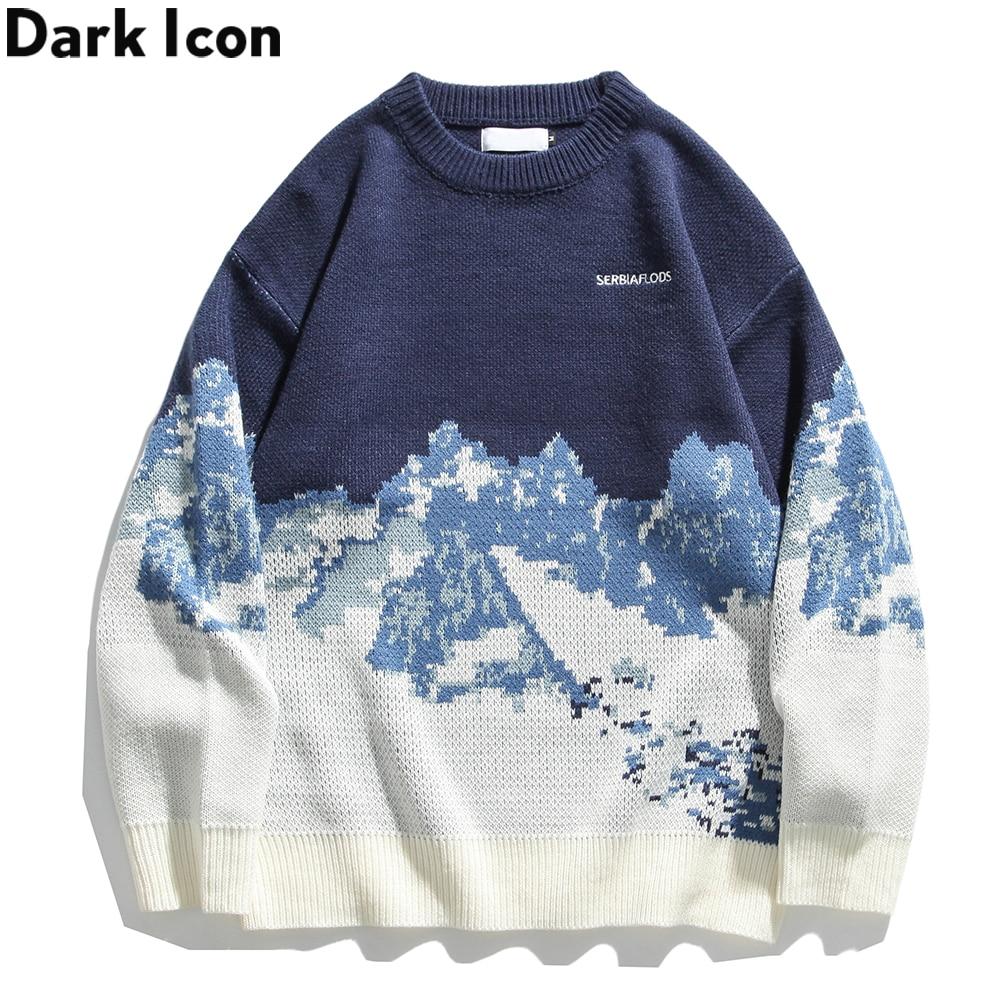 الظلام أيقونة الجبل سترة الرجال النساء الكورية نمط الرجال البلوزات الشتاء زوجين الملابس