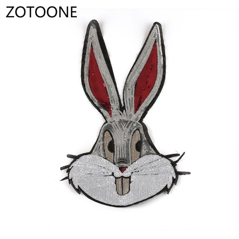 ZOTOONE lindo conejo de orejas largas parches para coser lentejuela grande parches para ropa apliques de rayas en la ropa para Diy camiseta I