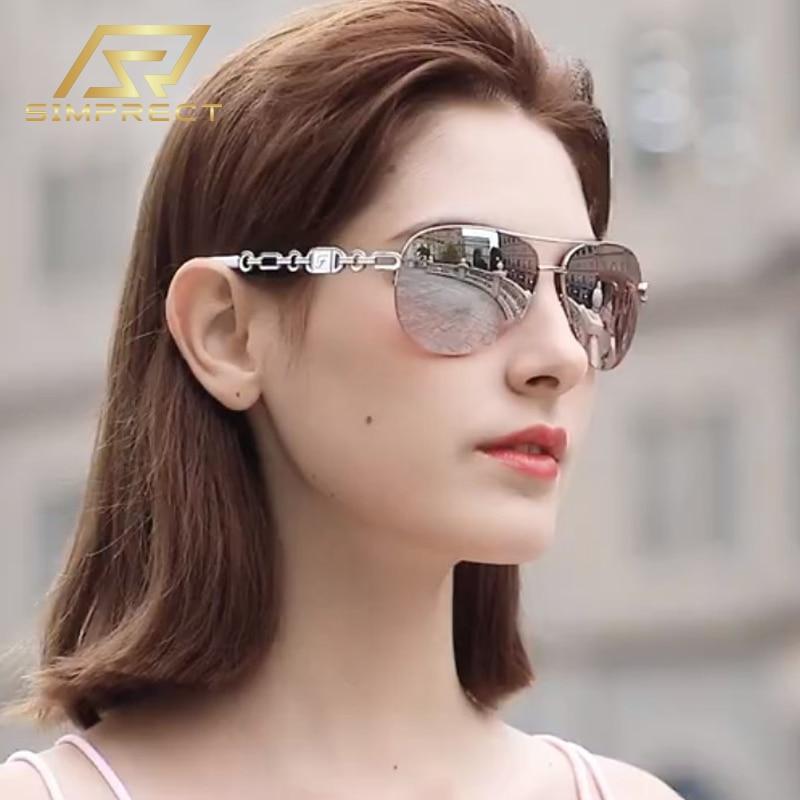 SIMPRECT 2020 retro piloto óculos de sol feminino anti-azul luz uv400 espelho motorista óculos de sol de alta qualidade marca tons para mulher