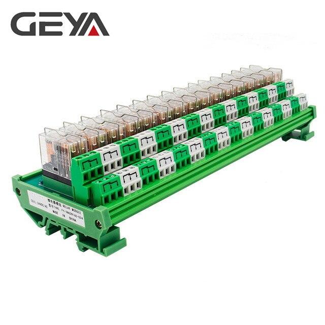 GEYA 2NG2R 16 canales Omron módulo del relé PLC 2NO 2NC 12VDC 24VDC DPDT de reemplazable