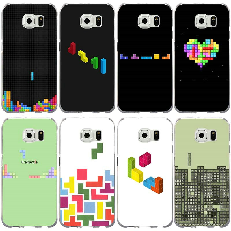 Funda de TPU blando para móvil Samsung Galaxy Note 2 3 4 5 8 S2 S3 S4 S5 Mini S6 S7 S8 S9 Edge Plus, funda Tetris Games de colores