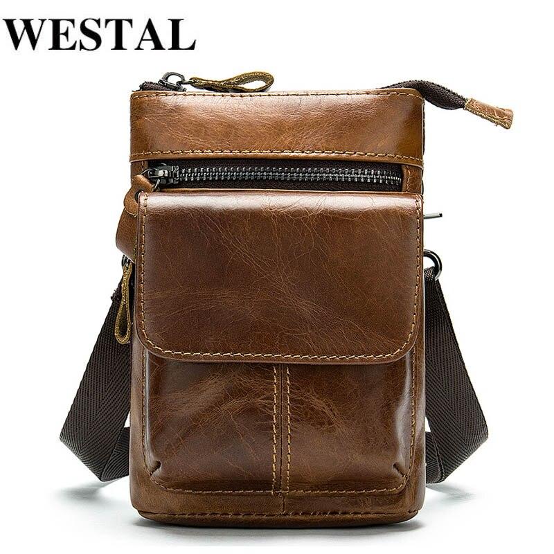 Bolso de hombre WESTAL, bolso de hombro de cuero genuino para hombre, bolsos cruzados pequeños para hombre, bolsos de mensajero para teléfono con solapa