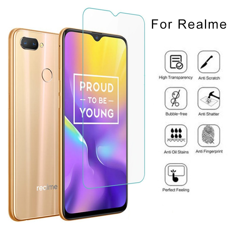Protector de pantalla de cristal templado rígido para teléfono Realme 1 2 3 Pro 3i 5 Pro 9H HD, cristal Protector