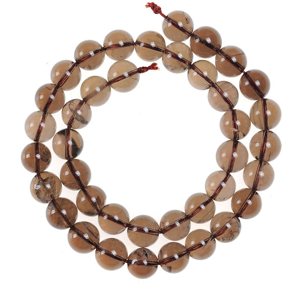 Бисер из натурального камня 4 мм 6 мм 8 мм 10 мм 12 мм, Круглые Гладкие дымчатые коричневые кварцевые Камень Бисер для DIY ожерелий и браслетов