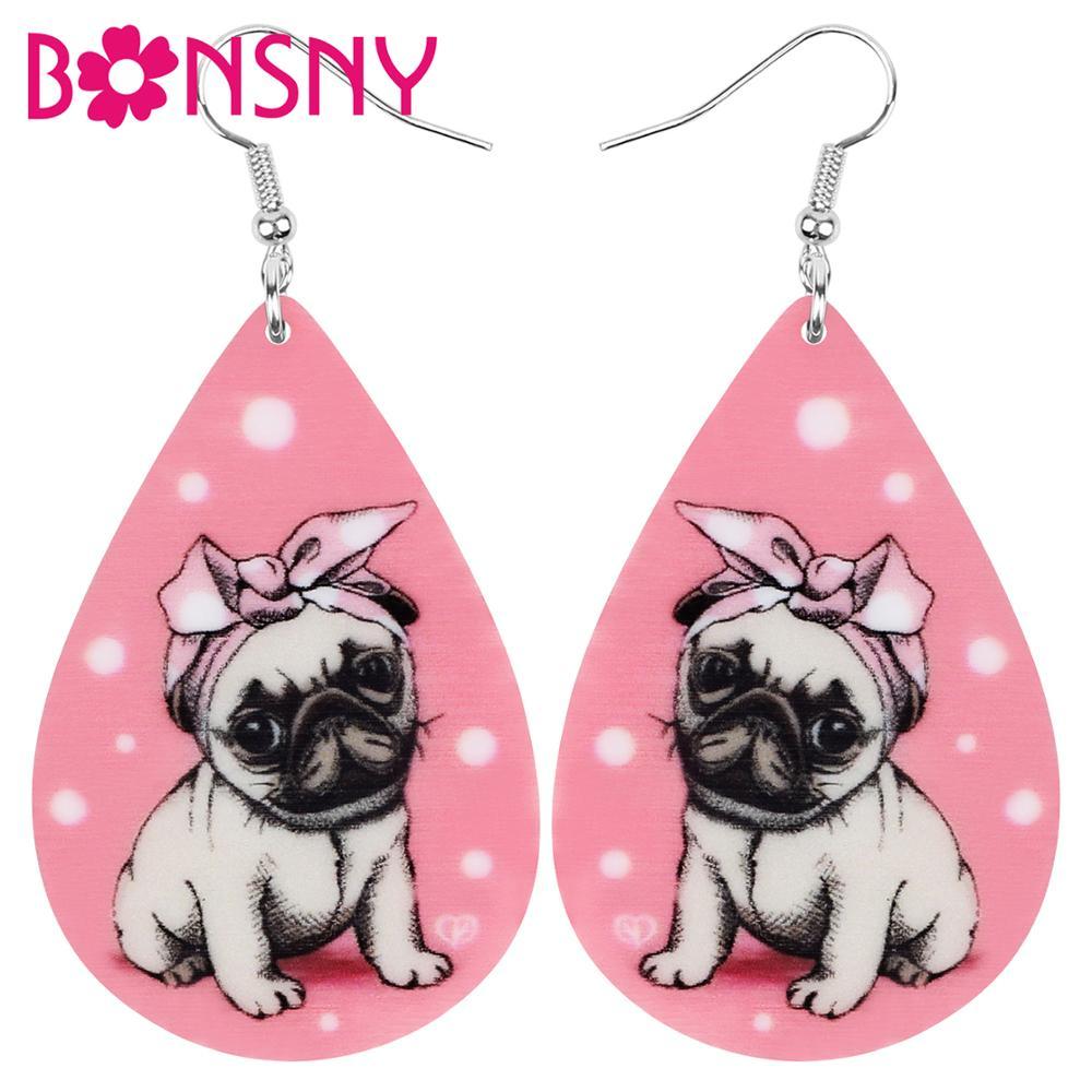 Bonsny, diadema de acrílico en forma de lágrima, pendientes de perro Pug, colgante de gota de Animal, joyería para mujeres, chicas, adolescente Niño, abalorio para fiesta, accesorio de regalo