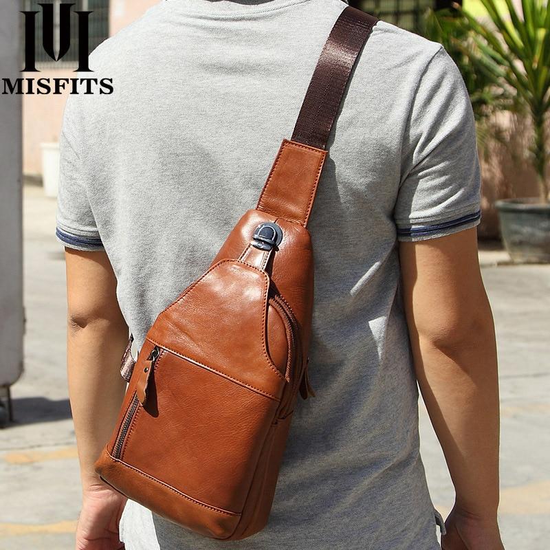 حقيبة صدر من جلد البقر للرجال ، حقيبة خارجية ، جلد أسود ، نسخة ، حقيبة رجالية