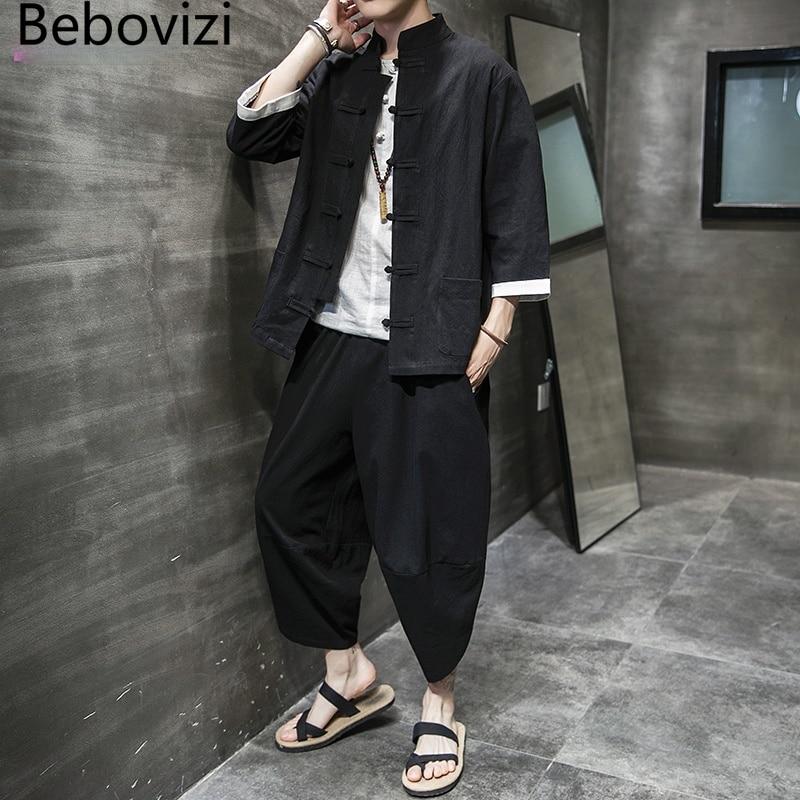 Костюм в китайском стиле кунг-фу из хлопка и льна, черная модель, мужские традиционные Топы Тан + длинные брюки, одежда, костюм Брюса Ли