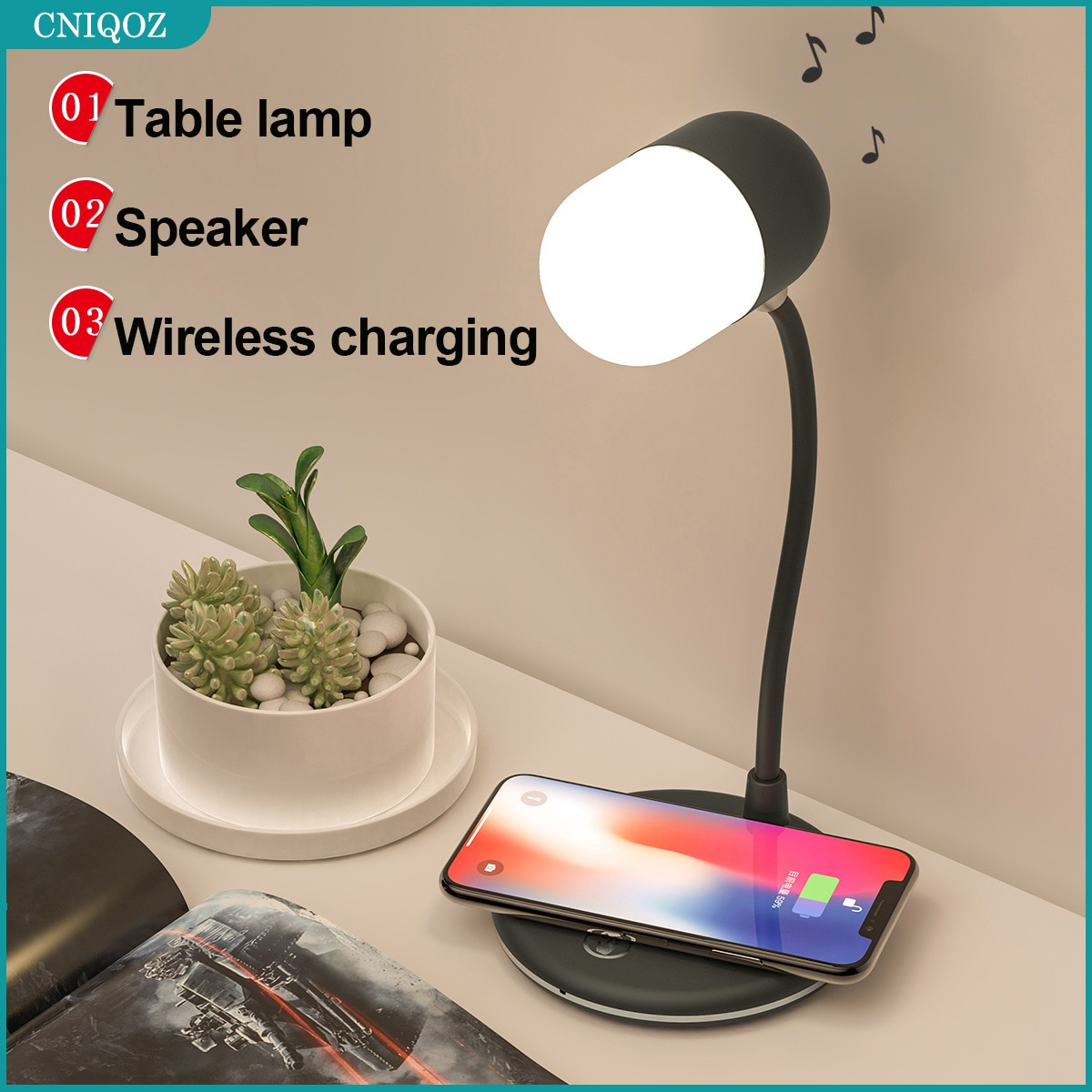 3 IN 1 Flexible LED Desk Lamp With 5W Bluetooth Speaker Qi Wireless Charger For iphone12 Mi Huawei S