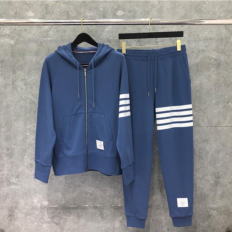 2020 Fashion TB THOM Brand Hooded Clothing Loose Cotton Jacket Men Women Striped Sweatshirts Hoodies Blue Casual Sportswear Coat