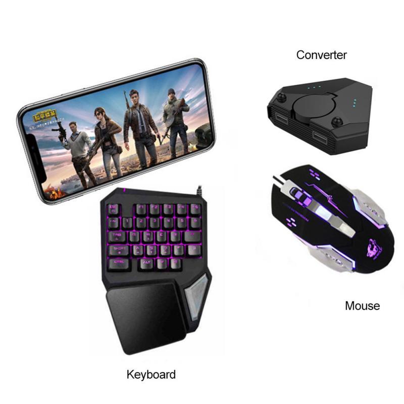 Souris et clavier de jeu câblés par USB avec le convertisseur 3 In1 aucun retard pour le clavier de souris de joueur dios/Android/PC pour le jeu de tir