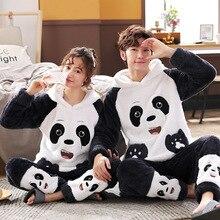 Adulte Pijama femmes dessin animé Panda flanelle peluche épais Pyjamas costume velours à manches longues Pijamas ensembles vêtements de nuit pyjama fille Homewear