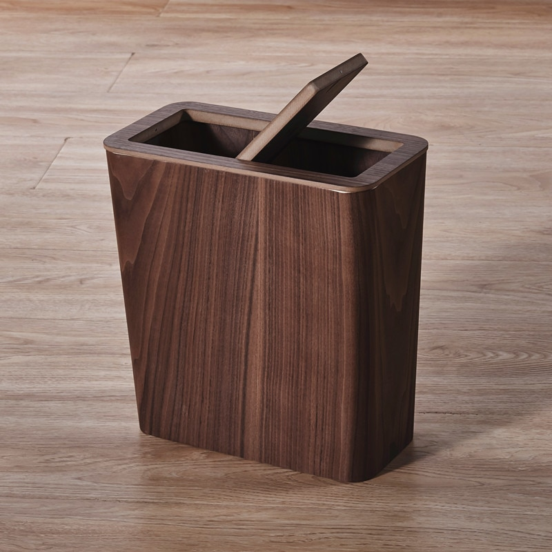Stacked Wood Trash Can Compost Recycle Large Room Waste Sorting Trash Can Storage Box Lixeira Banheiro Room Accessories enlarge