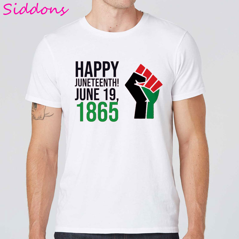 Feliz juneteenth men t-shirts junho 19 1865 celebrar a liberdade t camisa masculina topos preto história mês t roupas do vintage streetwear