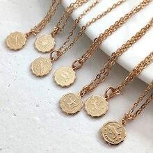 Juste sentir zodiaque pièce colliers signe du zodiaque céleste collier déclaration or argent couleur zodiaque bijoux femmes pendentif chaîne