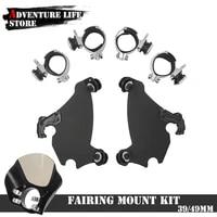 motorcycle fork bracket gauntlet headlight fairing trigger lock mount kit 3949mm for harley dyna street sportster xl 1200 xl883