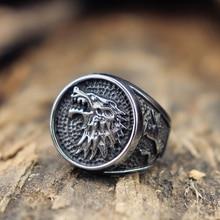 Hommes femmes maison Stark Direwolf 316L bague en acier inoxydable jeu de trôlerie Stark anneau Vikings Biker bijoux