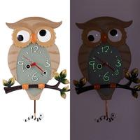 Creative Owl 3d Wall Clock Silent Wall Watches Home Decor Modern Cartoon Luminous Clocks Shabby Chic Relogio De Parede Gift