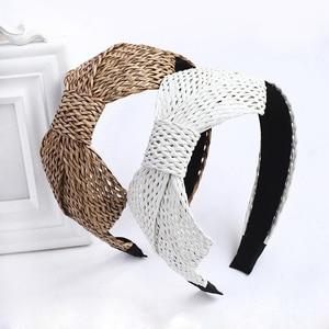 New Fashion Straw Headband Women Hair Accessories Bohemian Bowknot Hairband Wholesale Wide Hair Hoop