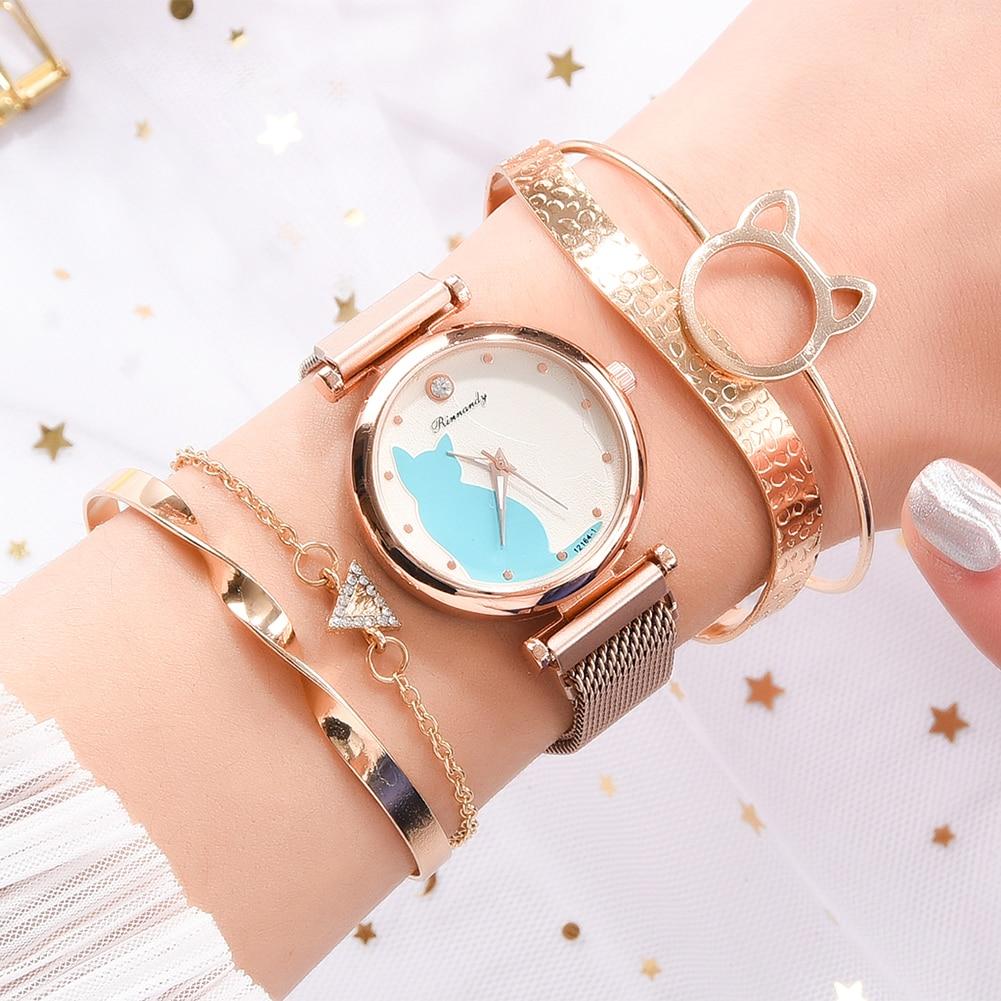 5pcs/Set Fashion Women Mesh Strap Wristwatch Rhinestone Crystal Bracelet Cute Cat Dial Quartz Analog Watch for Girls Friends enlarge