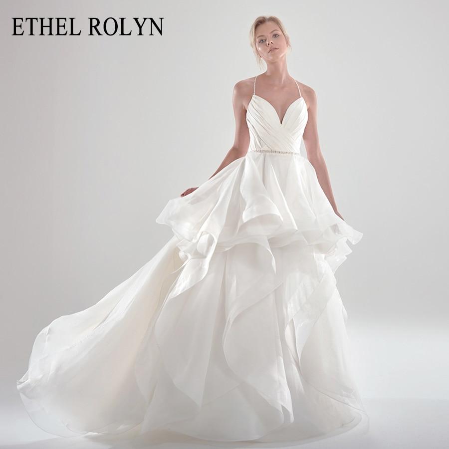 ETHEL ROLYN A-Line Vestido De novia 2020 elegante satén espalda descubierta correas espaguetis con cuentas Ruffles Organza Vestido De novia