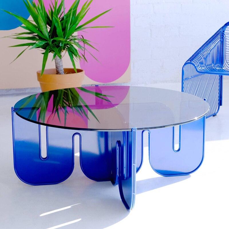 طاولة قهوة إكليريك الإبداعية شخصية متقدمة الإضاءة الفاخرة الزجاج الشفاف مستديرة غرفة المعيشة طاولة شاي الحديثة