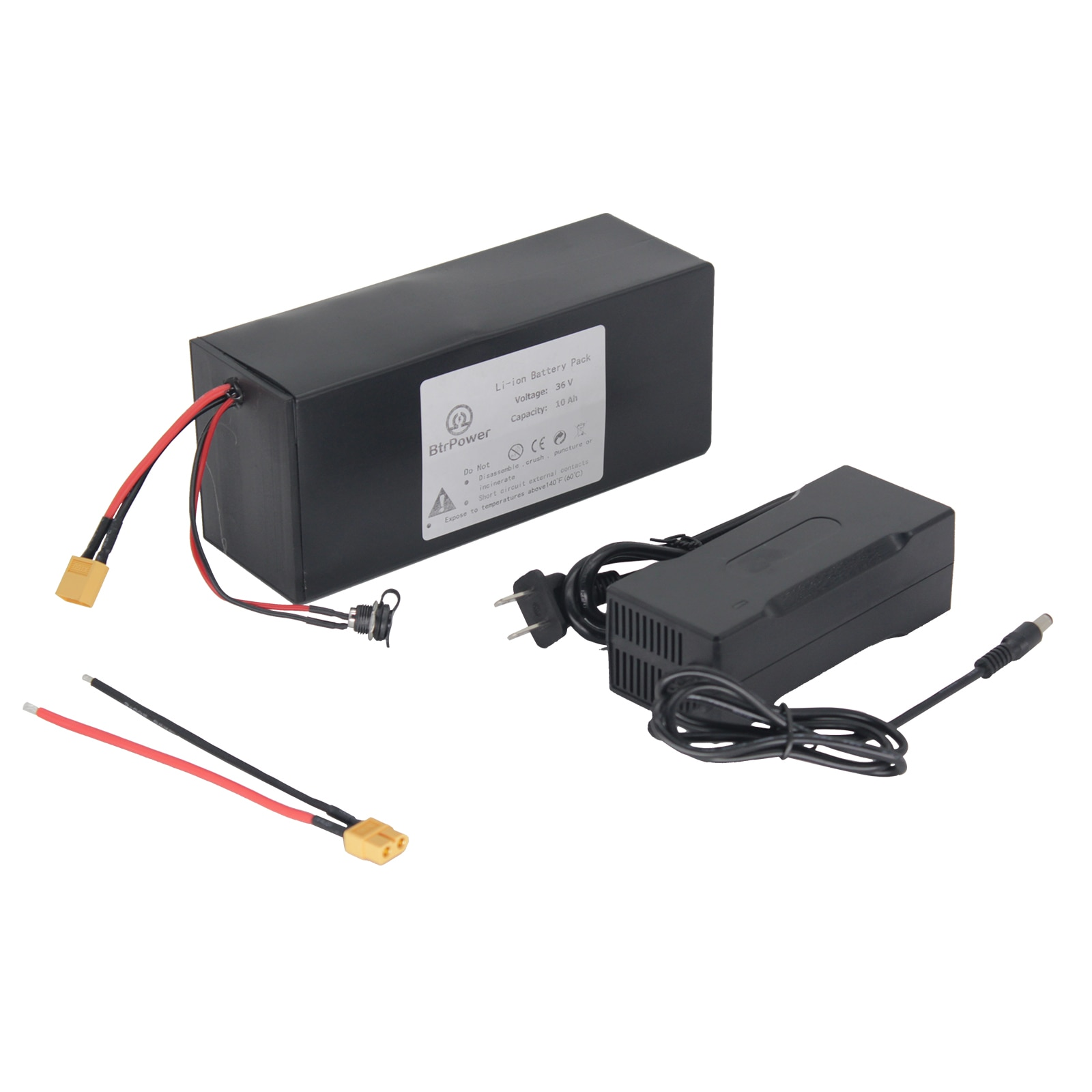 36 V 10 AH E Bike Lithuim-Ion Battery Pack with 3 A Charger 20A BMS High Temperature Resistance Fast Charging Outdoor Daily Use