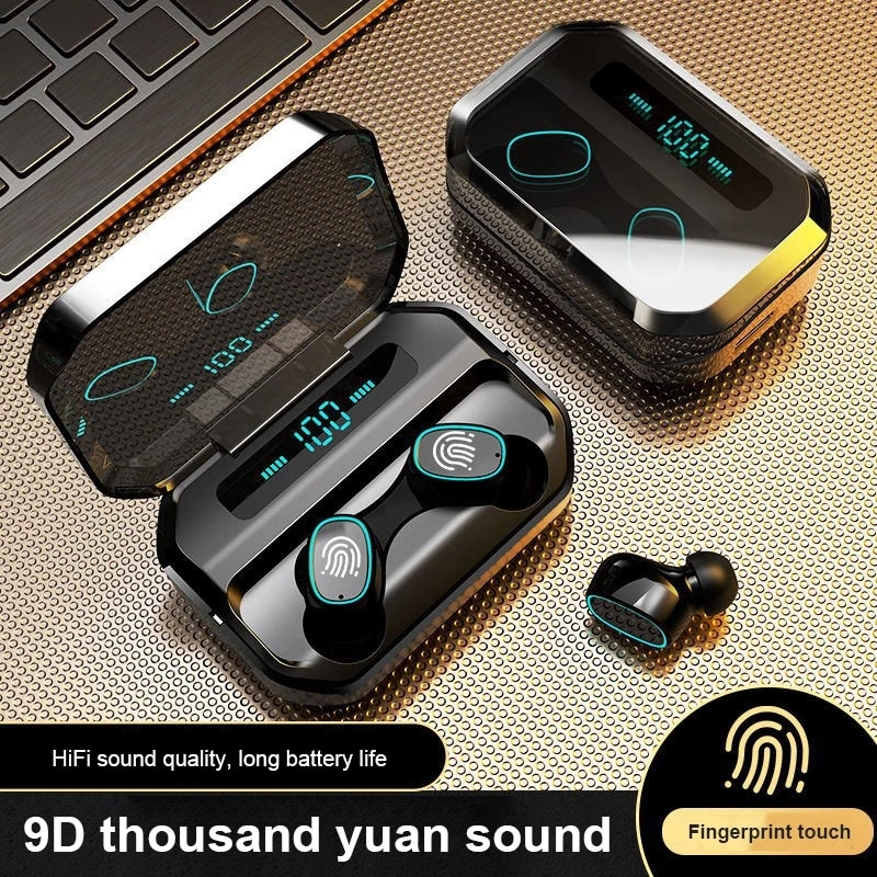 tws wireless headset waterproof bluetooth compatible headset touch 9d stereo wireless sports headset
