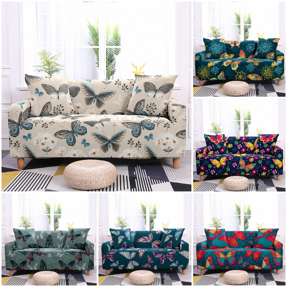1/2/3/4 Seaters Butterfly Pattern Elastic Sofa Cover for Living Room Spandex Couch Cover Stretch Slipcover Washable Sofa Towel