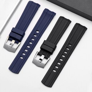 Yopo Soft Rubber Watchband 20mm Black Blue Wristband With Pin Buckle Suitable For Omega Seamaster 300 Gift Tool