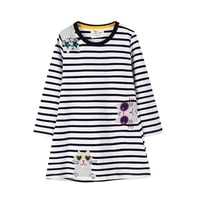 2 7 years toddler baby girl striped cotton dress long sleeve clothes summer outfit embroidery animal t shirt dress