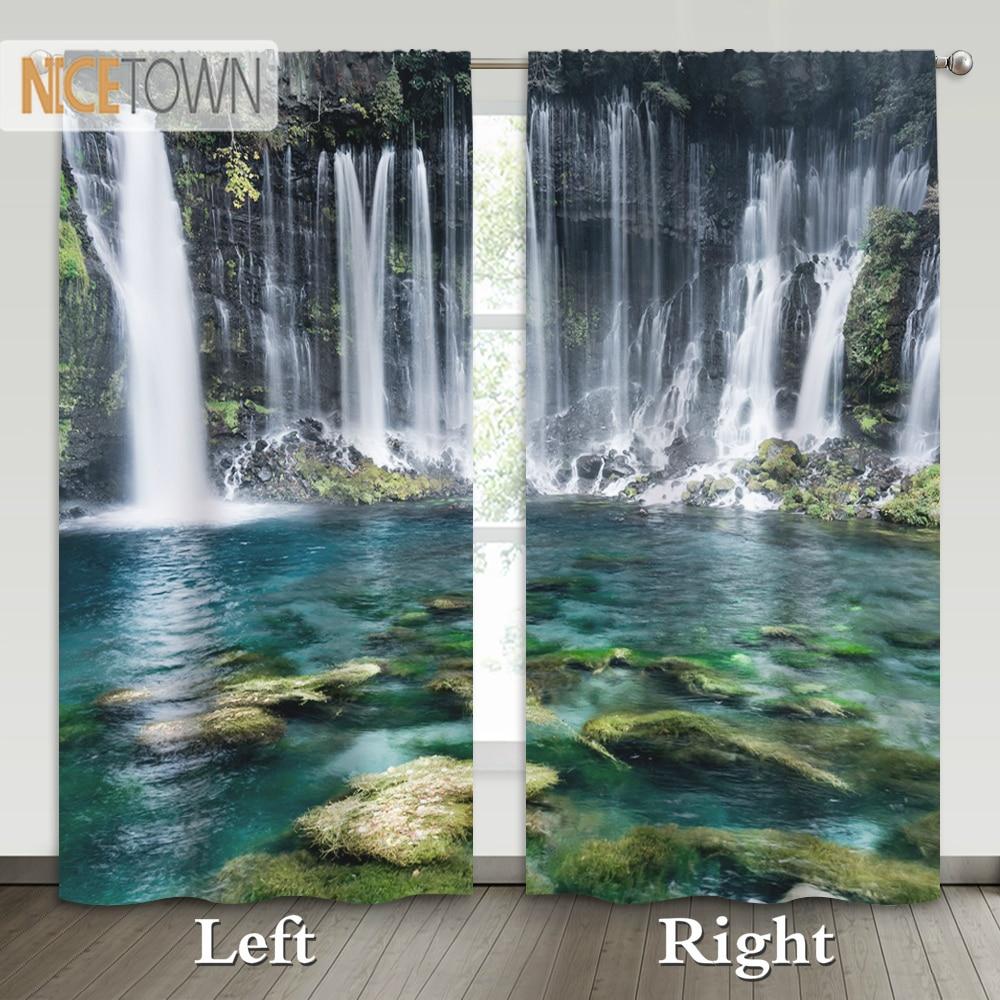 Nictown 1 par de cortinas opacas estampadas con forma de cascada cortinas de bolsillo para dormitorio Living de hotel