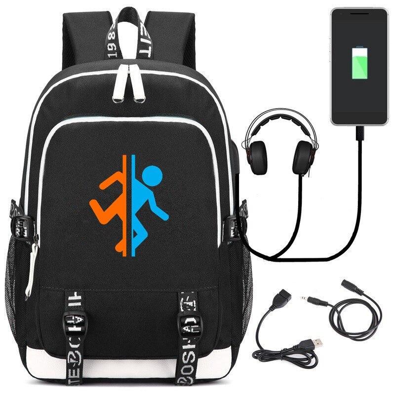 New PORTAL 2 Backpack Men Women Laptop Travel Shoulder Bags Kids Teens USB School Bag Bookbag Cosplay Anime Bags
