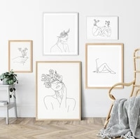abstract women line drawing nordic posters prints modern canvas painting wall art flower girl wall picture bedroom home decor