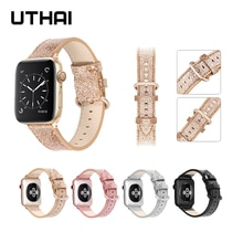 UTHAI Leather strap For Apple Watch band 40mm 44mm For apple wtch 4/5 Fashion Strap Bracelet  For iWatch 3/2/1