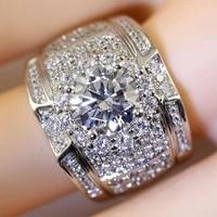 2021 hot luxury aaa white zircon engagement rings for women men trendy female male jewelry birthday wedding party valentine gift