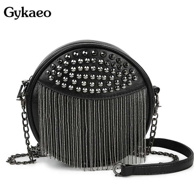 Black Round Women's Shoulder Bag Ladies Soft Leather Chains Tassel Crossbody Bags for Women 2020 Small Clutch Messenger Bag