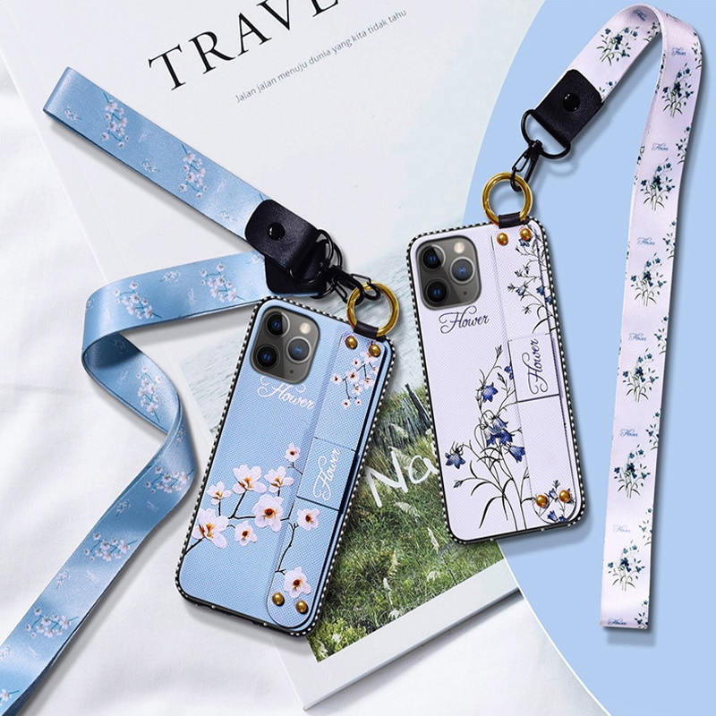 Wrist Strap Cases For iPhone 12 11 Pro MAX SE 2020 7 8 6 6S Plus X XS XR Vintage Flower Pattern Holder Cover With Lanyard Caqa