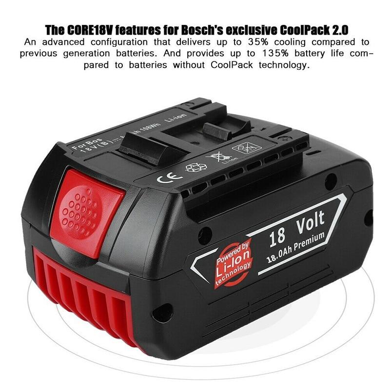 100% original 18V18000mAh Rechargeable For Bosch 18V18.0Ah Battery Backup Portable Replacement BAT609 Indicator light+Charger