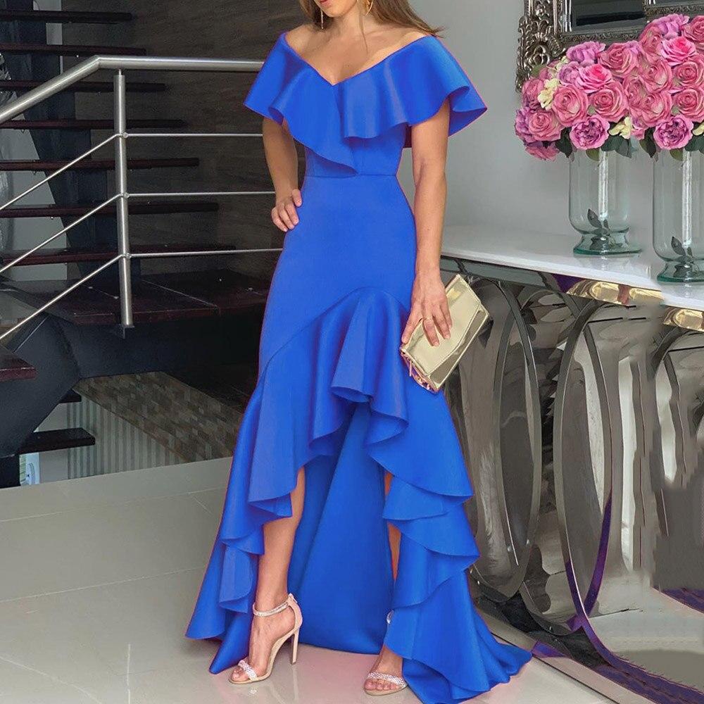 Azul volantes vestido de fiesta Sexy de hombro alto bajo irregular Falbala elegante femenino largo hasta el suelo de noche Maxi Vestido largo de mujer
