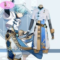 customize anime genshin impact chongyun game suit white uniform cosplay costume halloween outfit for men new 2020