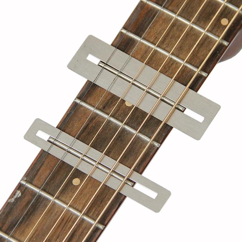 2 uds. De acero inoxidable cuerdas de guitarra Herramientas de reparación de molienda profesional plateado Protector de diapasón