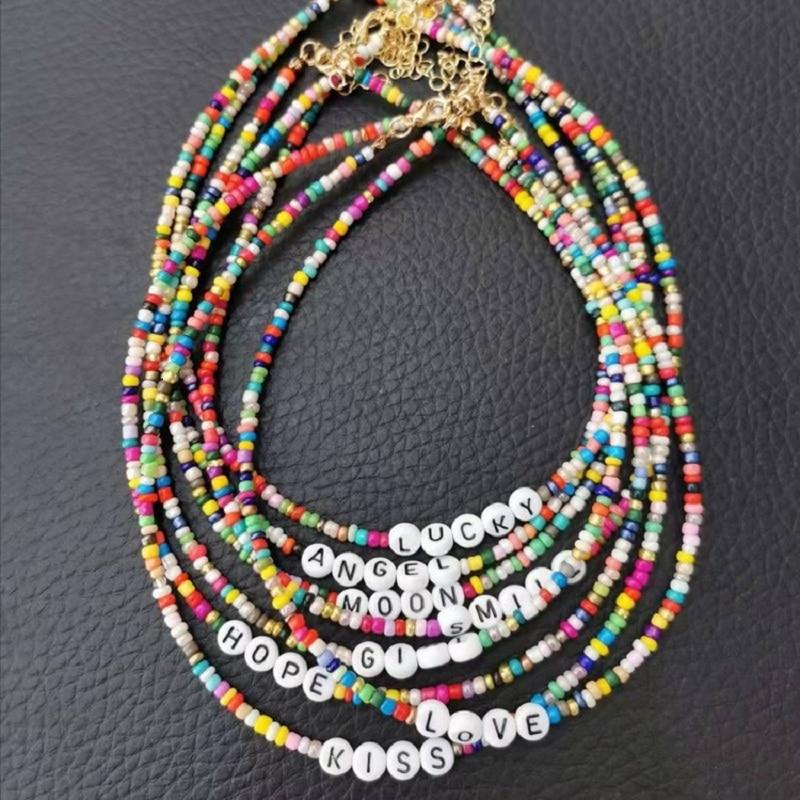 Fashion Bohemia Handmade Diy Rice Bead Necklace Letter Lucky Love Angel Choker Clavicular Chain Colorful Female Beach Jewelry
