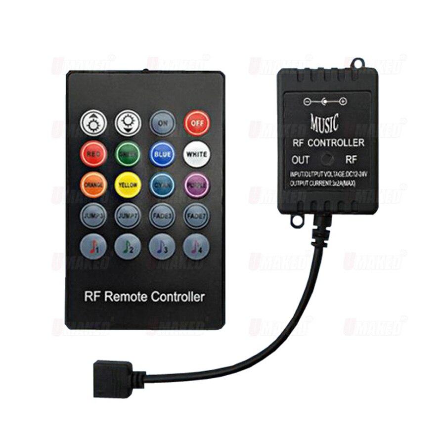 DC5-24V 20 teclas de música ir controlador preto sensor som remoto para alta qualidade rgb led strip música ir controlador