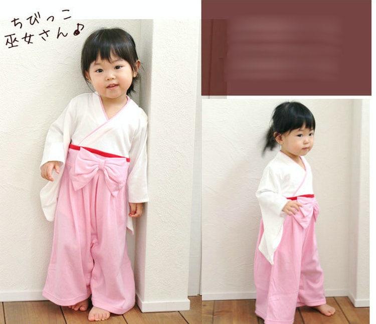 Mono Kimono liso para niña, estilo japonés, para niños, infantes recién nacidos informales, mono de algodón con diseño de lazo, monos sin abrigo ZL603