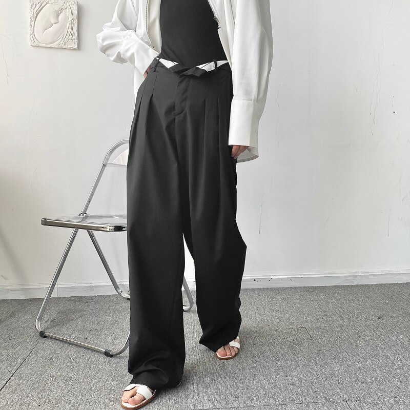 Large Size Early Autumn Cool Style Personalized Flanging Waist Head Loose Wide Leg Floor Dragging Small Trousers Fashion Korean