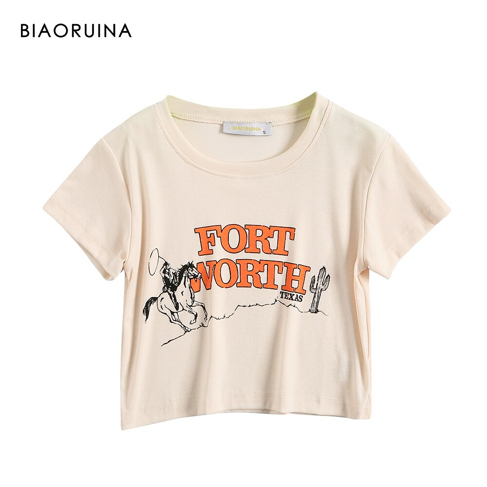 BIAORUINA Women's American Style Letter Printed Short T-shirt Female Fashion O-neck Crop Top Girls Slim All-match Tee Streetwear