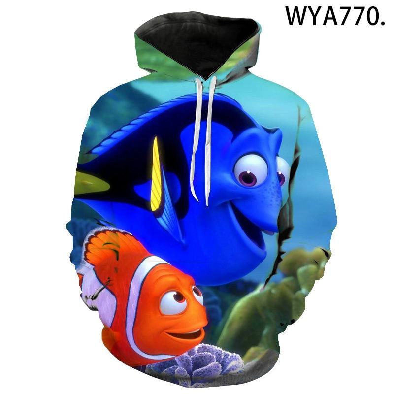 Nuevas sudaderas con capucha de otoño e invierno para hombres y mujeres, sudaderas de Nemo con estampado 3D, Jersey informal de moda para niñas y niños