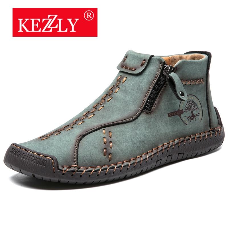 Sapatos ao ar Livre com Zíperes Masculinos com Costura Kezzly Masculino Tamanho Grande Moda Casual Sapatos Artesanal