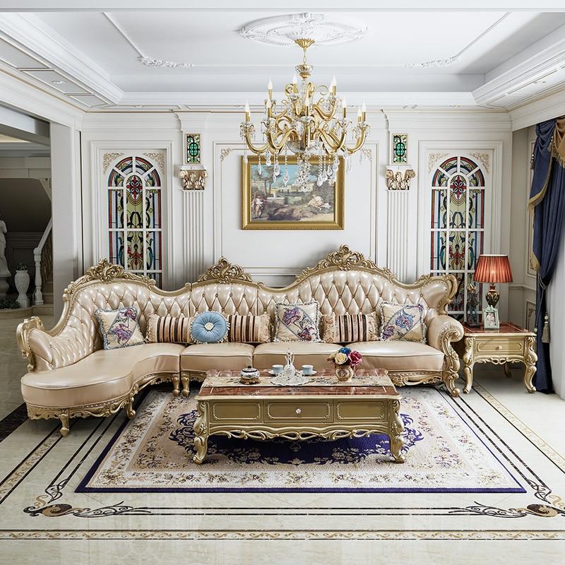 Sofá de lujo de estilo europeo color champagne dorado, sala de estar, combinación de esquina francesa de cuero, muebles de madera maciza