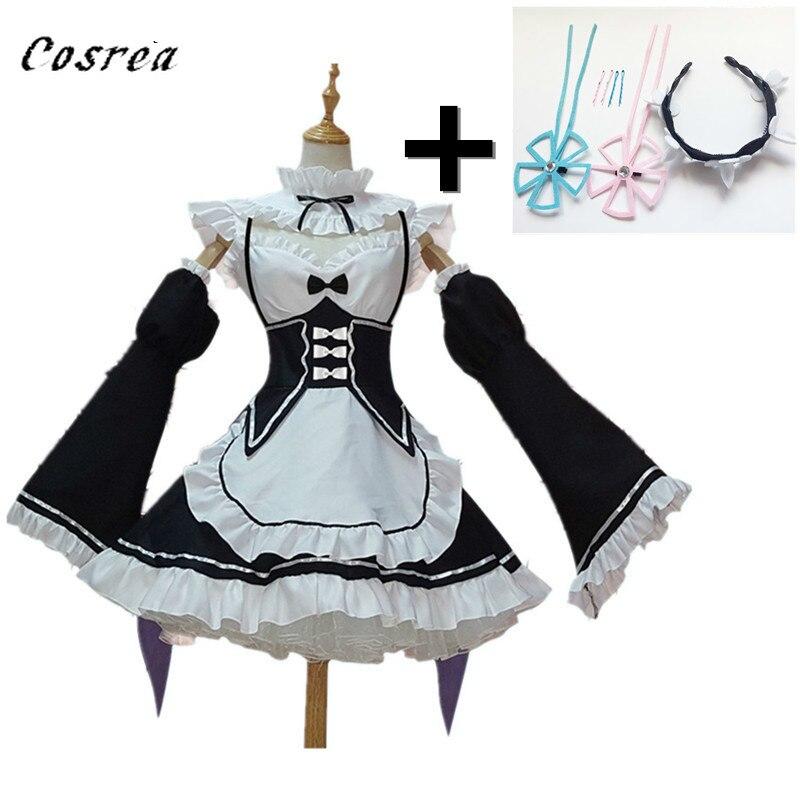 A cero Kara Hajimeru Isekai Seikatsu Ramu RAM REM Anime Cosplay disfraces delantal para ayudante en limpieza vestido de las mujeres las niñas traje de juegos de uniformes